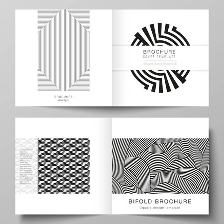The vector layout of two covers templates for square design bifold brochure, magazine, flyer, booklet. Trendy geometric abstract background in minimalistic flat style with dynamic composition. Illusztráció