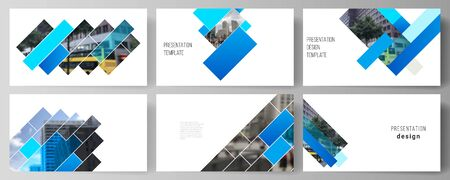 The minimalistic abstract vector illustration of the editable layout of the presentation slides design business templates. Abstract geometric pattern creative modern blue background with rectangles. Foto de archivo - 132122992
