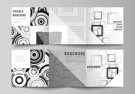 The minimal vector layout of square format covers design templates for trifold brochure, flyer, magazine. Trendy geometric abstract background in minimalistic flat style with dynamic composition Ilustração