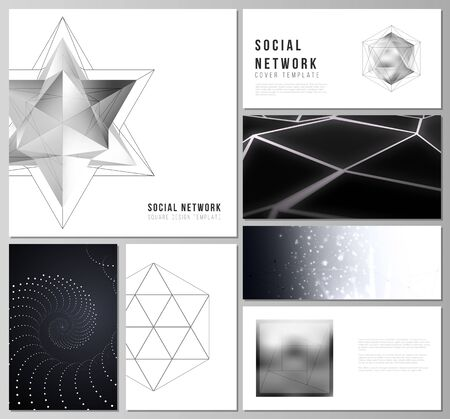 The minimalistic abstract vector layouts of modern social network mockups in popular formats. 3d polygonal geometric modern design abstract background. Science or technology vector illustration.