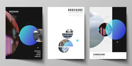 Vector layout of A4 format modern cover mockups design templates for brochure, flyer, booklet. Simple design futuristic concept. Creative background with circles that form planets and stars