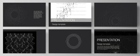 The minimalistic abstract vector illustration layout of the presentation slides design business templates. Trendy modern science or technology background with dynamic particles. Cyberspace grid.