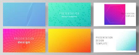 The minimalistic abstract vector illustration of the editable layout of the presentation slides design business templates. Abstract geometric pattern with colorful gradient business background. Banco de Imagens - 132123017