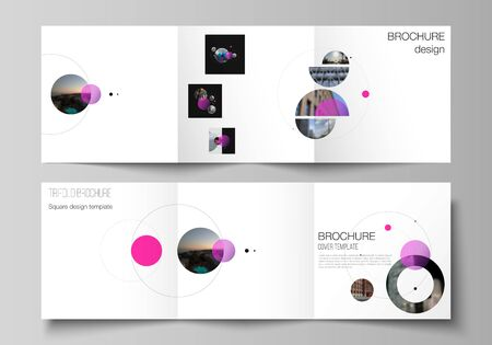 Vector layout of square format covers design templates for trifold brochure, flyer. Simple design futuristic concept. Creative background with pink circles and round shapes that form planets and stars  イラスト・ベクター素材