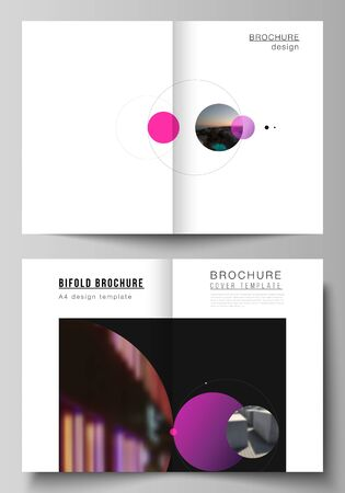 Vector layout of two A4 format modern cover mockups design templates for bifold brochure, flyer, booklet. Simple design futuristic concept. Creative background with circles that form planets and stars