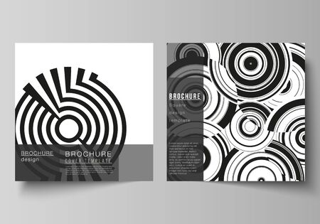 The minimal vector layout of two square format covers design templates for brochure, flyer, magazine. Trendy geometric abstract background in minimalistic flat style with dynamic composition Ilustración de vector