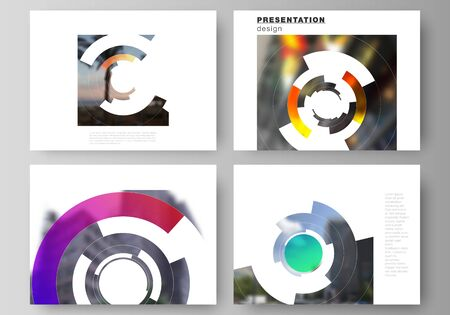 The minimalist abstract vector layout of the presentation slides design business templates. Futuristic design circular pattern, circle elements forming geometric frame for photo.
