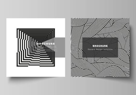 The minimal vector layout of two square format covers design templates for brochure, flyer, magazine. Trendy geometric abstract background in minimalistic flat style with dynamic composition.