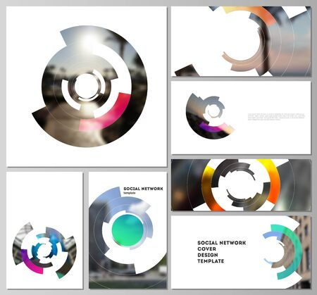 Minimalistic abstract vector illustration of editable layouts of modern social network mockups in popular formats. Futuristic design circular pattern, circle elements forming geometric frame for photo. Çizim