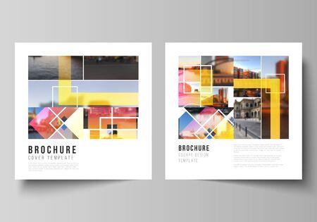 Minimalna ilustracja wektorowa edytowalnego układu dwóch kwadratowych formatów obejmuje szablony projektowe dla broszury, ulotki, czasopisma. Kreatywne makiety w modnym stylu, modne tła w kolorze niebieskim