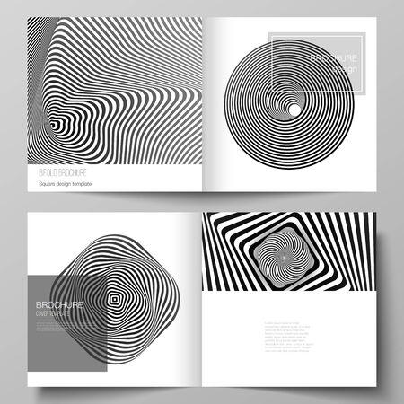 El diseño vectorial de dos plantillas de portadas para folleto plegable de diseño cuadrado, revista, folleto, folleto. Fondo geométrico 3D abstracto con patrón de diseño blanco y negro de ilusión óptica.