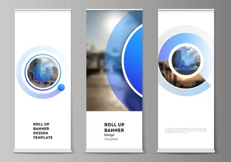 The vector illustration of the editable layout of roll up banner stands, vertical flyers, flags design business templates. Creative modern blue background with circles and round shapes Vetores
