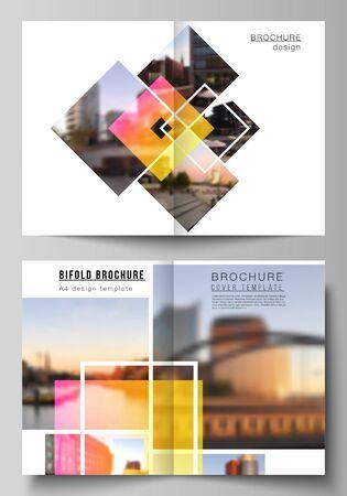 Vector layout of two A4 format modern cover mockups design templates for bifold brochure, magazine, flyer, booklet, annual report. Creative trendy style mockups, blue color trendy design backgrounds. Ilustração