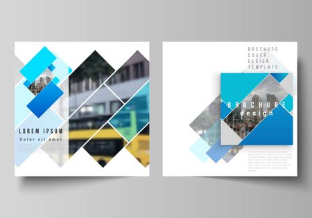 The minimal vector illustration layout of two square format covers design templates for brochure, flyer, magazine. Abstract geometric pattern creative modern blue background with rectangles. Ilustrace