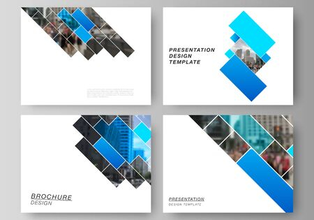 The minimalistic abstract vector illustration of the editable layout of the presentation slides design business templates. Abstract geometric pattern creative modern blue background with rectangles. Ilustrace