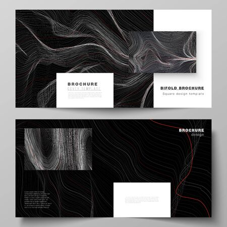 The black colored vector illustration of editable layout of two covers templates for square design bifold brochure, magazine, flyer, booklet. 3D grid surface, wavy vector background with ripple effect