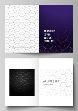 Vector layout of two A4 format modern cover mockups design templates for bifold brochure. Digital technology and big data concept with hexagons, connecting dots and lines, science medical background Zdjęcie Seryjne - 134559463