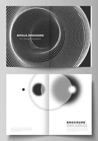 Vector layout of two A4 format modern cover mockups design templates for bifold brochure, magazine, flyer. Geometric background, futuristic science and technology concept for minimalistic design Ilustracja