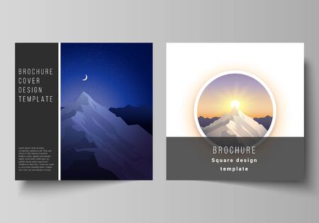 Minimal vector illustration layout of two square format covers design templates for brochure, flyer, magazine. Mountain illustration, outdoor adventure. Travel concept background. Flat design vector.