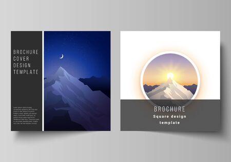 Minimales Vektorillustrationslayout von zwei quadratischen Formaten umfasst Designvorlagen für Broschüren, Flyer, Zeitschriften. Bergillustration, Abenteuer im Freien. Reisekonzept Hintergrund. Flaches Design-Vektor.