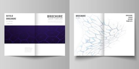 Vector layout of two A4 format modern cover mockups design templates for bifold brochure. Digital technology and big data concept with hexagons, connecting dots and lines, science medical background Illustration