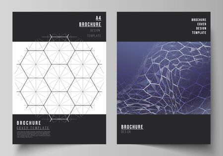 Vector layout of A4 format cover mockups design templates for brochure, flyer. Digital technology and big data concept with hexagons, connecting dots and lines, polygonal science medical background