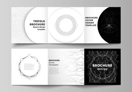 Minimal vector editable layout of square format covers design templates for trifold brochure, flyer, magazine. Trendy modern science or technology background with dynamic particles. Cyberspace grid. Ilustração Vetorial
