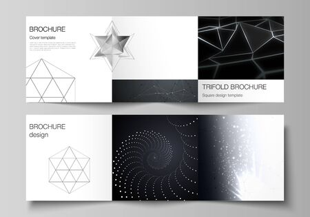 Vector layout of square format covers design templates for trifold brochure, flyer, magazine. 3d polygonal geometric modern design abstract background. Science or technology vector illustration.