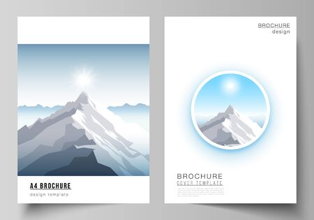 Vector layout of A4 format modern cover mockups design templates for brochure, magazine, flyer, booklet, report. Mountain illustration, outdoor adventure. Travel concept background. Flat design vector Stock Vector - 137219153