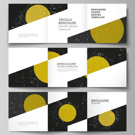 Vector editable layout of square format covers design templates for trifold brochure, flyer, magazine. Science or technology 3d background with dynamic particles. Chemistry and science concept. Vetores