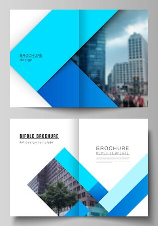 Vector layout of two A4 format modern cover mockups design templates for bifold brochure, magazine, flyer, booklet, report. Abstract geometric pattern creative modern blue background with rectangles