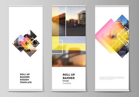 La ilustración vectorial del diseño editable de roll up banner stands, volantes verticales, banderas diseña plantillas de negocios. Maquetas de estilo creativo de moda, fondos de diseño de moda de color azul.