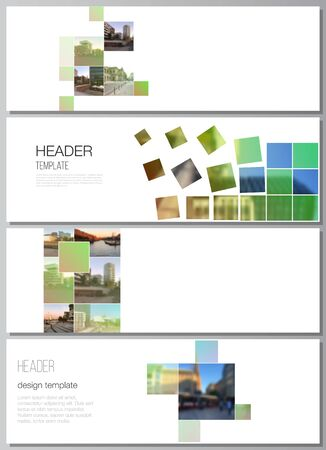 Vector layout of headers, banner design templates for website footer design, horizontal flyer design, website header backgrounds. Abstract project with clipping mask green squares for your photo Illustration