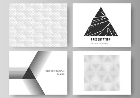 Minimalistic abstract vector of the editable layout of the presentation slides design business templates. Abstract geometric triangle design background using different triangular style patterns. Ilustrace