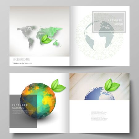 Vector layout of two covers templates for square design bifold brochure, flyer, cover design, book design, brochure cover. Save Earth planet concept. Sustainable development global business concept. Çizim