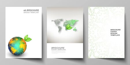 Vector layout of A4 format cover mockups design templates for brochure, flyer, booklet, cover design, book design, brochure cover. Save Earth planet concept. Sustainable development global concept