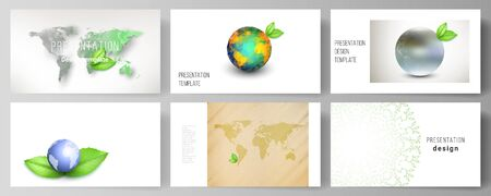 Vector layout of the presentation slides design business templates, multipurpose template for presentation brochure, brochure cover. Save Earth planet concept. Sustainable development global concept Çizim