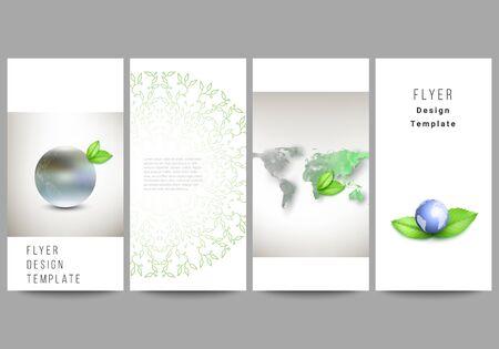 Vector layout of flyer, banner design templates for website advertising design, vertical flyer design, website decoration. Save Earth planet concept. Sustainable development global business concept