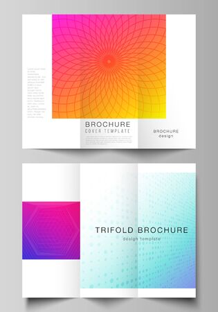 The minimal vector illustration of editable layouts. Modern creative covers design templates for trifold brochure or flyer. Abstract geometric pattern with colorful gradient business background