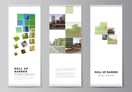Vector layout of roll up mockup design templates for vertical flyers, flags design templates, banner stands, advertising design mockups. Abstract project with clipping mask green squares for your photo