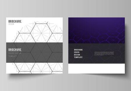 Diseño vectorial de dos plantillas de diseño de portadas de formato cuadrado para folleto, volante. Tecnología digital y concepto de big data con hexágonos, puntos y líneas de conexión, antecedentes médicos de ciencia poligonal