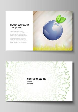 Vector layout of two creative business cards design templates, horizontal template vector design. Save Earth planet concept. Sustainable development global business concept