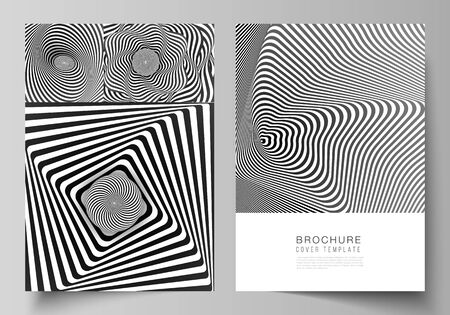 Vector layout of A4 format modern cover mockups design templates for brochure, magazine, flyer, booklet, report. Abstract 3D geometrical background with optical illusion black and white design pattern.