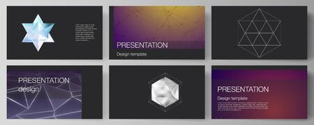 The minimalistic abstract vector layout of the presentation slides design business templates. 3d polygonal geometric modern design abstract background. Science or technology vector illustration