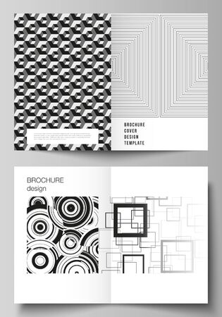 Vector layout of two A4 format modern cover mockups design templates for bifold brochure, flyer, booklet, report. Geometric abstract background in minimalistic flat style with dynamic composition