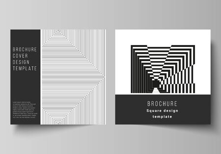 The minimal vector layout of two square format covers design templates for brochure, flyer, magazine. Trendy geometric abstract background in minimalistic flat style with dynamic composition