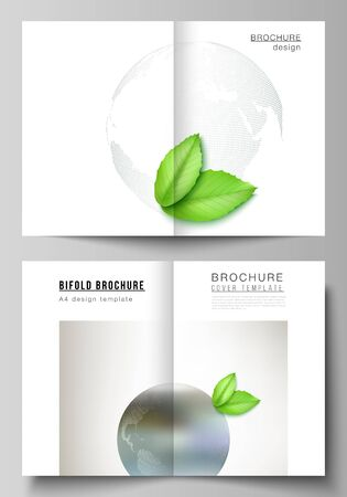 Vector layout of two A4 format cover mockups design templates for bifold brochure, flyer, cover design, book design, brochure cover. Save Earth planet concept. Sustainable development global concept Illustration
