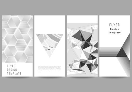 The minimalistic vector illustration of the editable layout of flyer, banner design templates. Abstract geometric triangle design background using different triangular style patterns