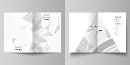 Vector layout of two A4 format modern cover mockups design templates for bifold brochure, flyer, booklet, report. Abstract geometric triangle design background using triangular style patterns.