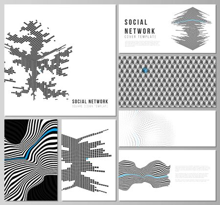 The minimalistic abstract vector illustration of the editable layouts of modern social network mockups in popular formats. Abstract big data visualization concept backgrounds with lines and cubes